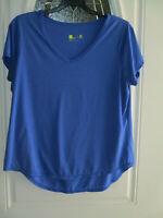 Xersion Athletic Top Blue V-neck Short Sleeve Women's 0X