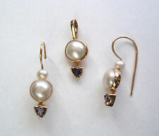 CULTURED PEARL AND IOLITE PENDANT AND EARRING SET 14K