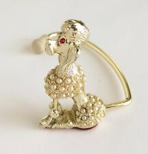 Vintage Poodle Purse Hook Handbag Holder Gold Tone Pearls Pink Rhinestones