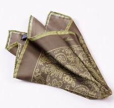 New CESARE ATTOLINI NAPOLI Brown-Olive Green Paisley Print Silk Pocket Square