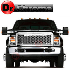 08-10 Ford Super Duty White LED Raptor Style Chrome Mesh Packaged Grille Grill