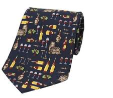 Soprano red wine lovers Blue silk tie with wine barrels, bottles, vines, glasses