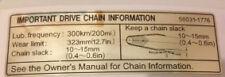 KAWASAKI ZXR750 ZXR750J 1992  DRIVE CHAIN INFORMATION CAUTION WARNING DECAL