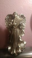 "Vintage Angel Playing the Harp Metal Heavy Statue Figurine 8"" High Free Shipping"