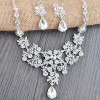 Braut Hochzeit Silber Kristall Strass Schmuckset Halskette Ohrringe Kette ~ K9U0