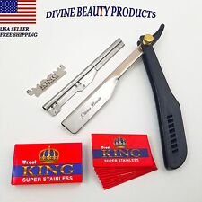 Barber Straight Cut Throat Salon Shaving Razor Shavette Rasoi Rasoirs 10 Blades