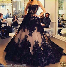New Black Gothic Long Quinceanera Dress Formal Prom Ball Gown Appliques
