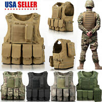 Army Military Molle Combat Airsoft Tactical Vest Adjustable Plate Carrier 5Color