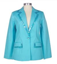 Quacker Factory Turquoise Stretch Pique Blazer with Sequin Trim QVC NIP NWT 2X