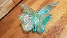 """Vintage Fenton 4"""" butterfly iridescent - Signed - Hand Made in the USA"""