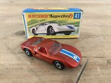 Matchbox Superfast No 41 Ford G.T. Dark Bronze Green Base Wide Wh High Arch - B