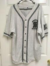 Realistic Records 03 Men Gray Button Front Baseball Jersey Shirt Xxl Badger Usa