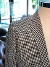 Men's Black White Houndstooth Check Cotton Jacket GAGLIARDI Blazer $395 40R NEW!