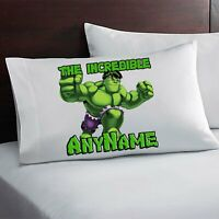 The Incredible Hulk Personalized Pillow Case Custom Made w. Your Name