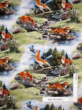 Animal Fabric - Fox Foxes #5011 Elizabeths Studio North American Wildlife - Yard