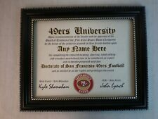 SAN FRANCISCO 49ers ~NINERS FAN MUST HAVE ~ CERTIFICATE ~ DIPLOMA ~  MAN CAVE