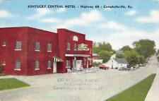 Campbellsville, KY    KENTUCKY CENTRAL HOTEL   Roadside c1940's Linen Postcard