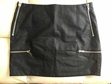 GLAMOROUS Black Faux Leather 'Skin of Your Teeth' Zipper Detailed Skirt - Size L
