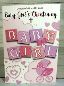 Congratulations On Your Baby Girl's Christening Greetings Card, Pink