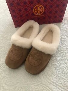 Tory Burch Coley Slippers 2 Nat Suede Shearling Leather Royal Tan Size 7 New