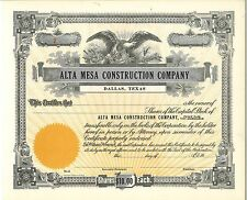 Alta Mesa Construction Company > Dallas, Texas old stock certificate share