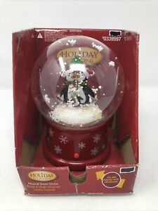 Gemmy Musical Waterless Snow Globe Penguin Family Light up