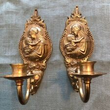 Pair Repousse Ornate Floral Solid Brass Wall Sconces Mother Mary Religous