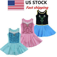 Girl Gymnastics Ballet Dance Dress Leotard Sequin Tutu Skirt Ballerina Dancewear