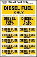13 Diesel Fuel Only Decals, Warning Stickers. Laminated Quality.