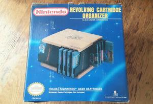 NEW Revolving Cartridge Organizer nintendo nes wooden holder Super Mario Bros 3