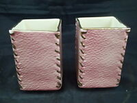 Set Lot Of 2 Vintage 1940's Mid Century Pink Planters Stitched Corners USA 885