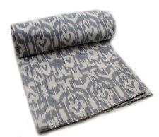 Grey Ikat Indian Kantha Quilt Blanket Bedspread Bedding Gudri Throw UK