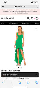 Lovers + Friends Harlow Gown Green Dress - New with Tags - Size Medium