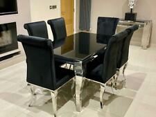Louis Black Glass Louis Grey Marble Dining Table Chrome Legs and Velvet Chairs