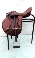 Exclusive BROWN Leather Treeless GP (jumping) Saddle  with accessories !!
