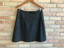Ann Taylor 100% Wool Dark Charcoal Gray A-Line Zipper Skirt  sz 10 EUC FAST SHIP