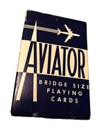 Vintage AVIATOR Bridge Size Playing Cards 1 Navy Blue Deck Collectible
