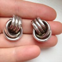 Vintage sterling silver modernist earrings on the clips knots shape circa 60s
