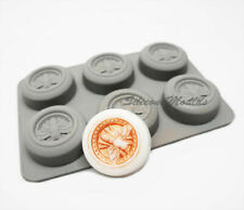 6 Cell Circular Honey Bee Beeswax Silicone Baking Soap Mould 42ml Vol. Wax Melt