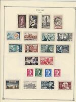 france 1955 stamps page mounted mint & used ref 17503