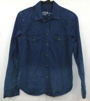 GAP Women's Size S Denim Shirt Long Sleeve Snap Western Cotton Dark Blue