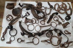 HUGE 30+pc Lot Antique Horse Tack Bit Harness Yoke Primitives Hand forged Iron