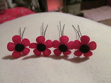 "SMALL FELT BLACK/RED POPPY HAIR PINS IN SETS OF 4 ON 2.5"" PINS 1"" ACROSS FLOWERS"