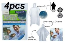 4 x Disposable Emergency Poncho Transparent/Clear Adult Raincoat 100% Brand New