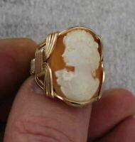 Vintage Shell Cameo Ring Carved in Italy in 14kt Rolled Gold Setting