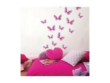 PiNk Metallic BUTTERFLIES 15 Wall Decals Silver BUTTERFLY Room Decor Stickers WS