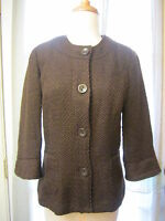 """Coldwater Creek Brown 3/4 Sleeve Button Front Boucle Jacket Women 4 """"NWOT"""""""