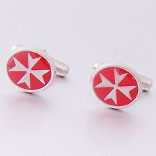 Amalfi MALTA MALTESE CROSS of St John Sterling Silver Red Enamel Oval Cufflinks