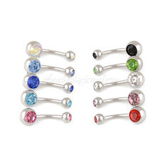 10 Pcs Belly Button Ring Double Jeweled Belly Rings Surgical Steel 14 Gauge Gem