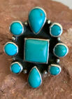MARK CHEE Gorgeous Turquoise Cluster Ring - Size 8 1/8